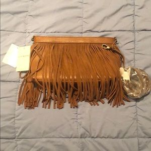 Lucky brand authentic suede tassel crossbody purse